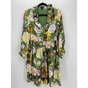 J Crew Collection Retro Green Floral Silk Dress